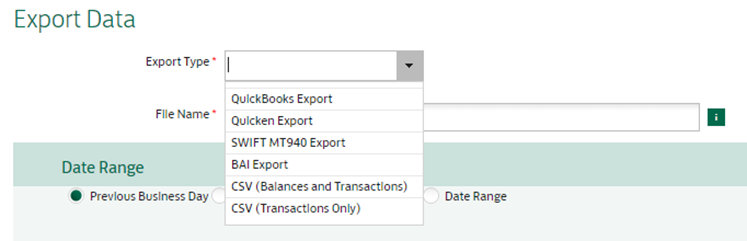 CSV export screen
