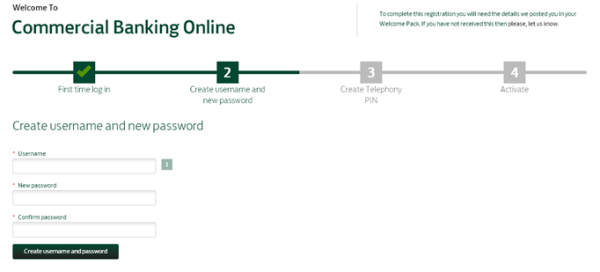 Create your username and password screen
