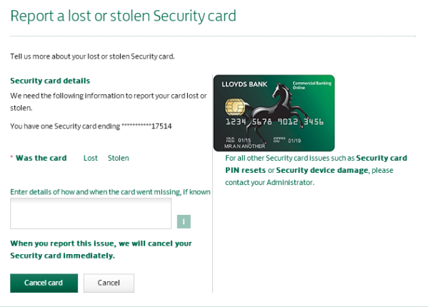 Report a lost or stolen Security card screen