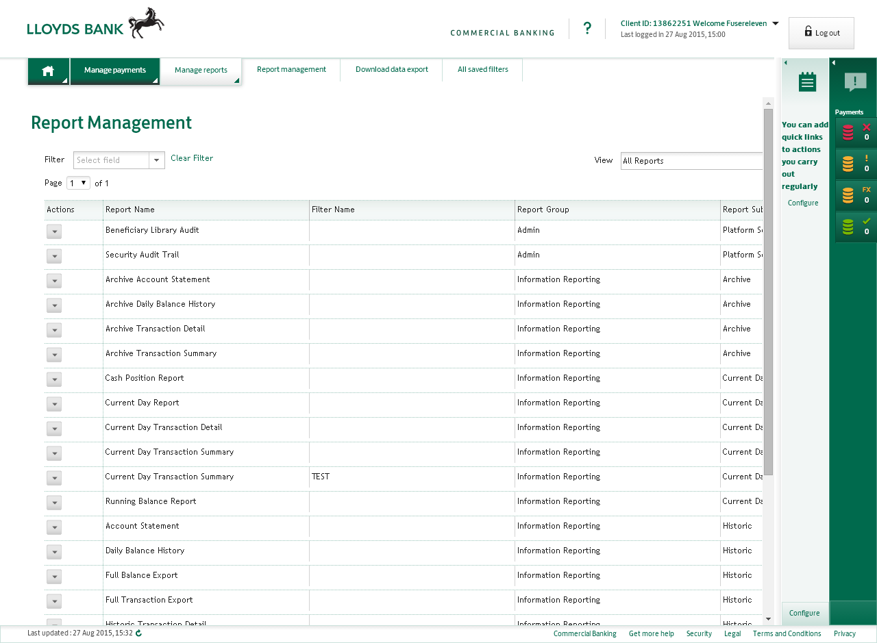 Report Management screen
